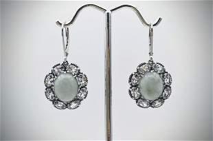 Sterling Silver Oval Jade Earrings w Cubic Zirconia