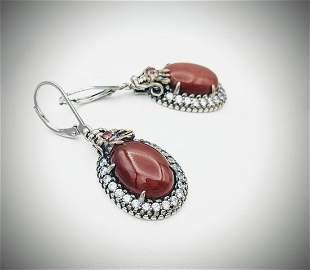 Sterling Silver Oval Jasper Dragon Earrings w Red