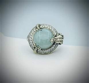 Sterling Silver Sz 7 Dragon Ring w Jade, Pink Sapphire