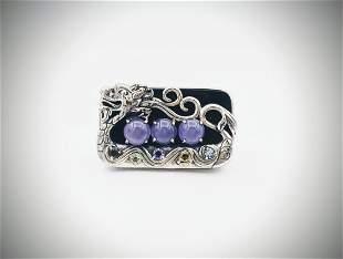 Sterling Silver Sz 7 Dragon Ring w Violet Jade, Blue