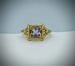 Sterling Silver Sz 7 Gold Plated Amethyst Ring