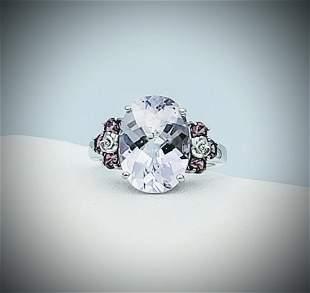 Sterling Silver Sz 7 Hambergite & Pink Amethyst Ring