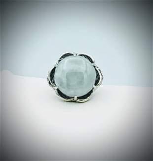 Sterling Silver Sz 7 Jade, Amethyst & Citrine Ring