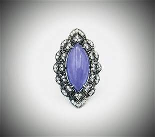 Sterling Silver Sz 7 Marquise Shaped Violet Jade & CZ