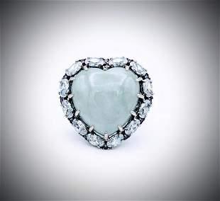 Sterling Silver Sz 7 Pale Amethyst & Jade Heart Shaped