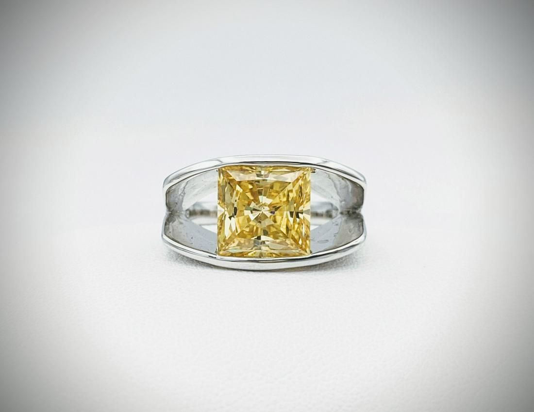 Sterling Silver Sz 7 Square Ring Band w Citrine & Cubic