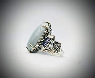 Sterling Silver Sz 7.5 Jade Cocktail Ring w Amethyst &