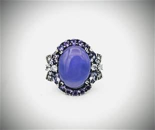 Sterling Silver Sz 8 Amethyst, Violet Jade & CZ Ring