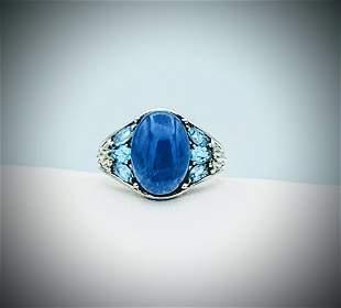 Sterling Silver Sz 8 Chalcedony & Blue Topaz Ring