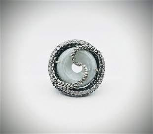 Sterling Silver Sz 8 Snake Ring w Jade & Cubic Zirconia