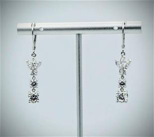 Sterling Silver Triple Drop Cubic Zirconia Earrings