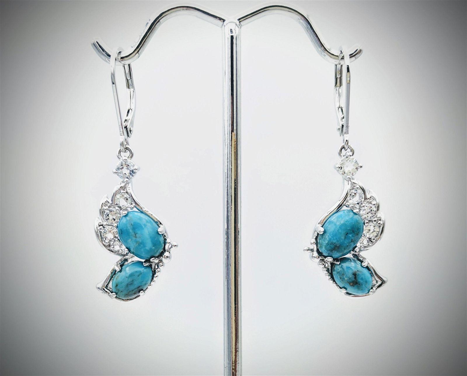 Sterling Silver Turquoise Earrings w CZs