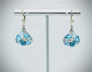 Sterling Silver Turquoise, Blue Topaz & Cubic Zirconia