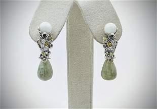 Sterling Silver Vintage Style Earrings w White Jadeite,