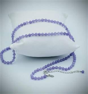 Sterling Silver Violet Jade Beaded Necklace