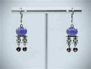 Sterling Silver Violet Jade Earrings w Dangly Pink