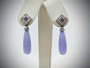 Sterling Silver Violet Jade Teardrop Earrings w
