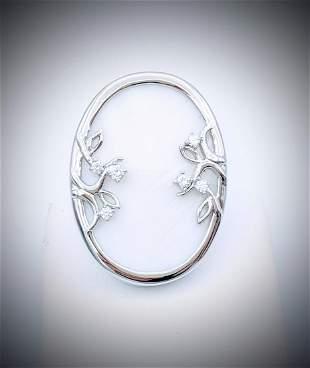 Sterling Silver White Onyx & CZ Ring Sz 7