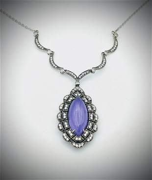 Sterling Silver Winged Necklace w Violet Jade & CZs