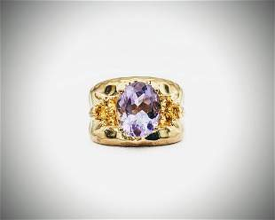 Sz 7 Gold Plated Amethyst & Citrine Ring