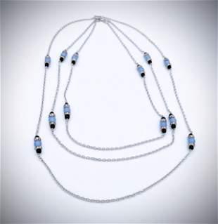 Three Layered Necklace w Violet Jade, Black Onyx & CZs