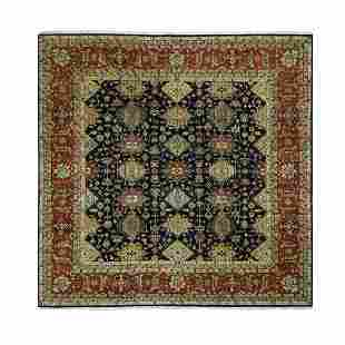 Square Pure Wool Black Karajeh Hand Knotted Oriental
