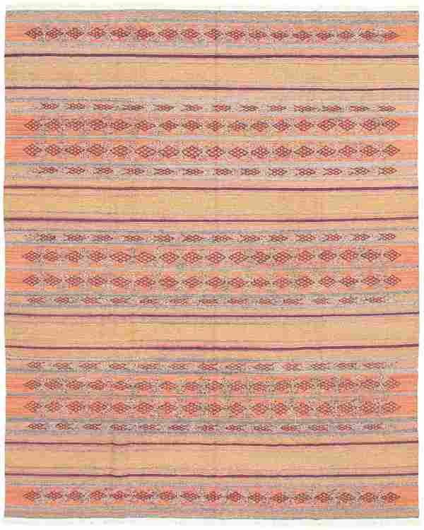 "Hand woven Bohemian Copper Wool Kilim 8'1"" x 10'2"""