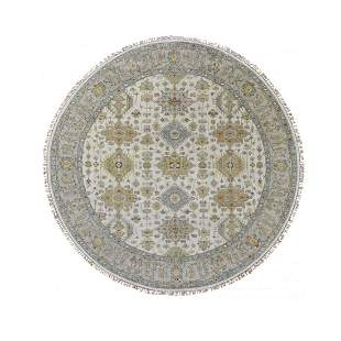 Round Ivory Karajeh Design Pure Wool Hand Knotted
