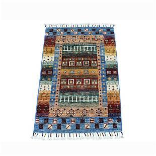 Blue Kashkuli Design Super Kazak Geometric Pure Wool