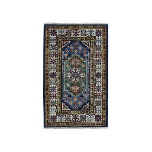 Blue Super Kazak Pure Wool Geometric Design