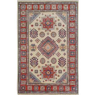 Ivory Special Kazak with Medallion Pure Wool Hand