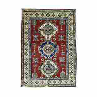 Pure Wool Hand-Knotted Tribal Design Kazak Oriental Rug