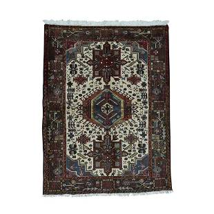 Persian Karajeh Hand-Knotted Pure Wool Oriental Rug