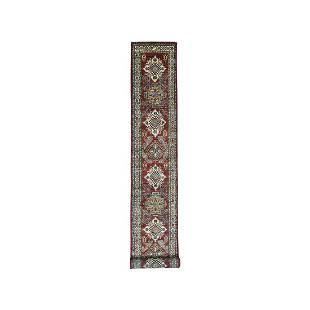 Red Super Kazak Geometric Design XL Runner Pure Wool
