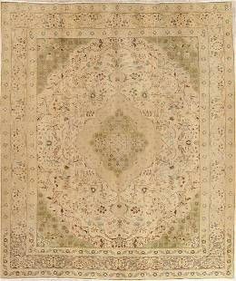 Muted Tabriz Persian Hand-Knotted 10x12 Wool Distressed