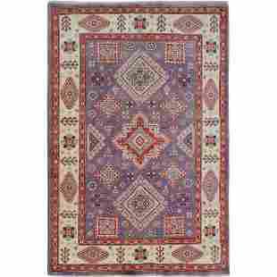 Purple Special Kazak Geometric Design Pure Wool Hand