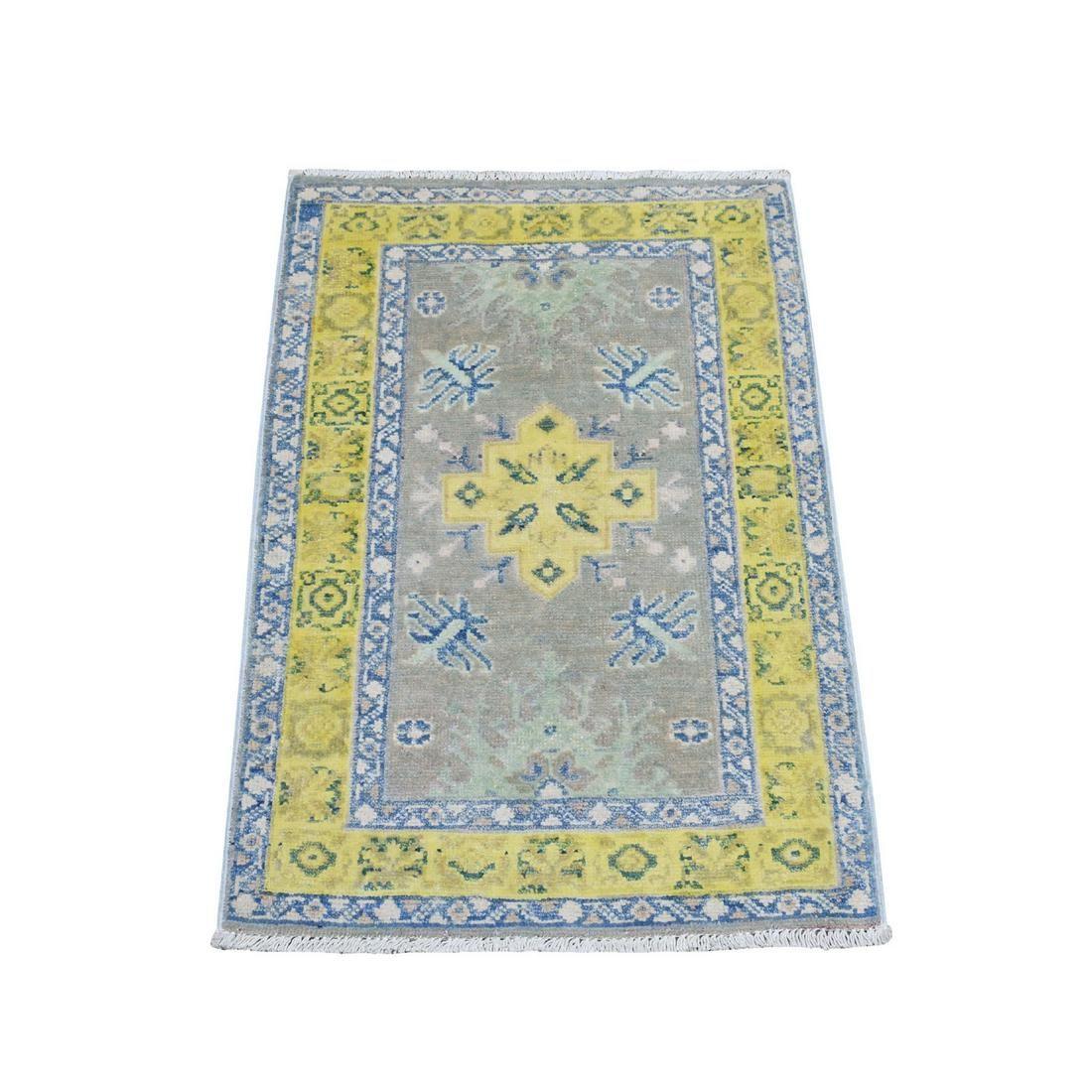 Colorful Gray Fusion Kazak Pure Wool Geometric Design