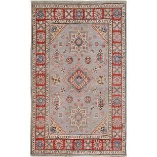 Gray Special kazak Geometric Design Pure wool