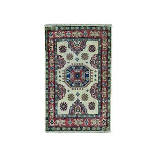 Ivory Geometric Design Kazak Pure Wool Hand-Knotted