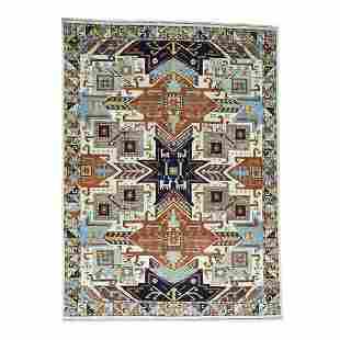 Hand-Knotted Geometric Design Super Kazak Pure Wool Rug