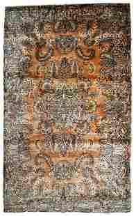Handmade antique Persian Kerman rug 4.1' x 6.10' (125cm