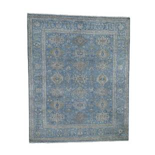 Blue Karajeh Design Pure Wool Hand-Knotted Oriental Rug