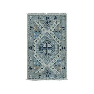 Hand-Knotted Pure Wool Vintage Look Kazak Oriental Rug