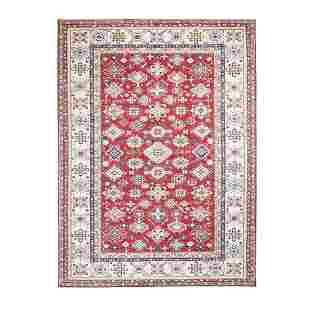 Red Super Kazak Geometric Design Pure Wool Hand Knotted