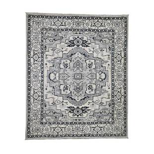 Hand-Knotted Peshawar With Heriz Design Pure Wool