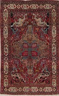 Pre-1900 Vegetable Dye Isfahan Ahmad Persian 4x7 Wool