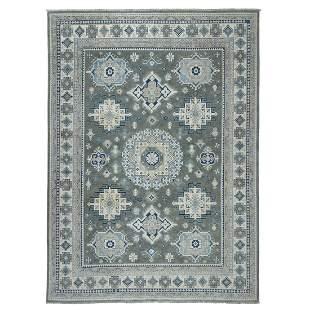 Gray Vintage Look Kazak Tribal Design 100% Wool Hand