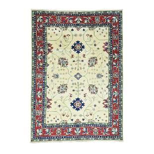 Hand-Knotted Kazak Pure Wool Geometric Design Oriental