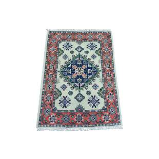 Colorful Ivory Fusion Kazak Pure Wool Hand Knotted
