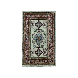 Ivory Super Kazak Pure Wool Geometric Design